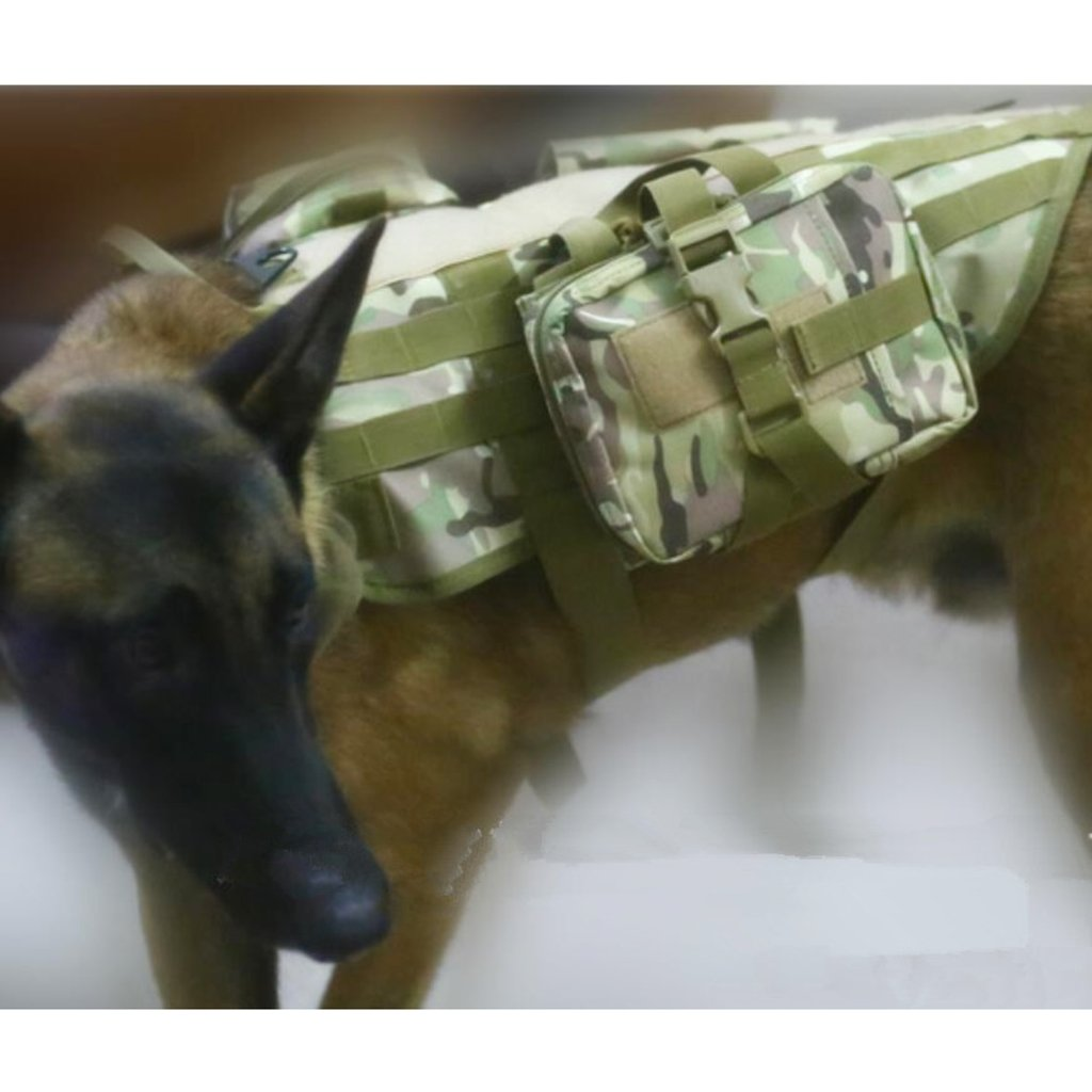 Jili Online Nylon 600D Dog Molle Harness Police Army Dog With Accessory Bag M-XL Tan, M