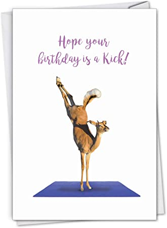Wildlife Yoga Antelope - Cute Happy Birthday Greeting Card with Envelope (4.63 x 6.75 Inch) - Fun African Safari Animal, Workout Note Card for ...