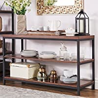 TRIBECCA HOME Somme Rustic Metal Frame Storage Sofa Table TV Stand, Dark brown