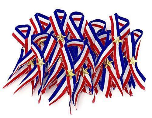 48 Bulk Patriotic Ribbon with Gold Star (Red, White, and Blue) -