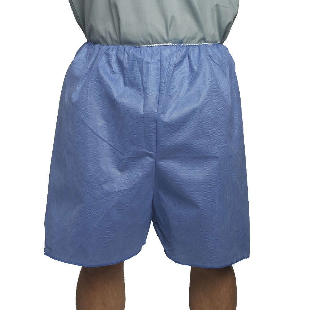 MediChoice Exam Shorts, Elastic Waist Band, Spunbond Meltblown Spunbond, XL, Blue (Case of 100)