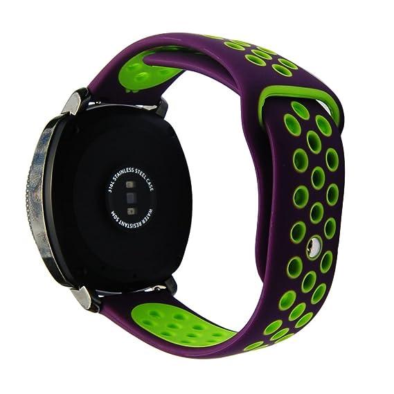 20mm Silicone Strap for S2 Classic R732/R735 Samsung Gear Sport R600 Ticwatch E/2 Vivoactive 3 Rubber Band(Purple-Green)