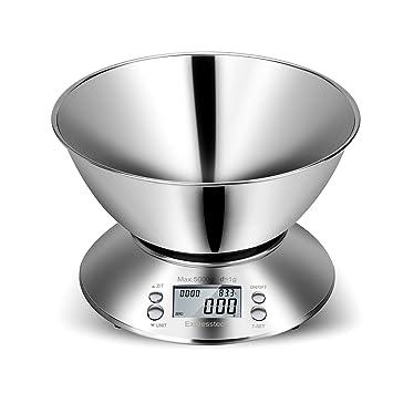 Expresstech @ Básculas de Cocina Báscula Digital Multifuncional para Cocina Acero Inoxidable Bol de Mezcla removible 5KG para Cocina y Alimentación y Más: ...