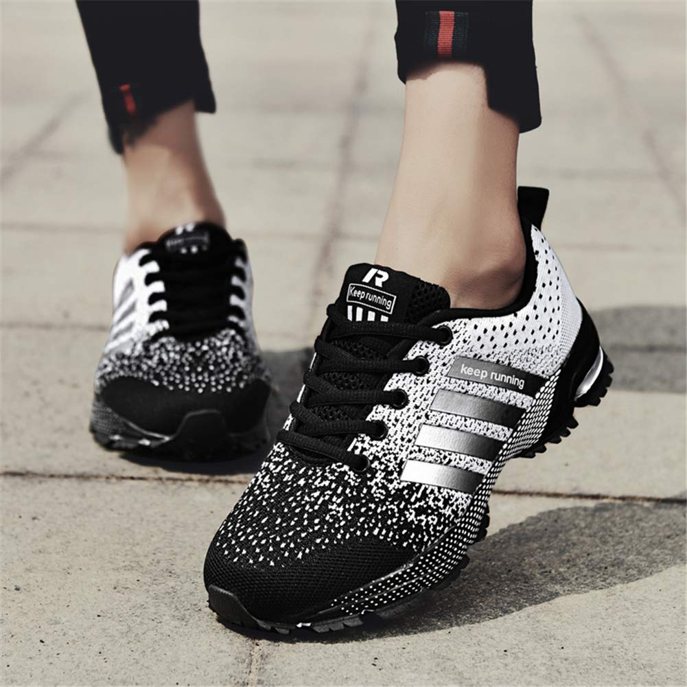 KUBUA Womens Running Shoes Trail Fashion Sneakers Tennis Sports Casual Walking Athletic Fitness Indoor and Outdoor Shoes for Women 5.5 B / 4.5 D F Black by KUBUA (Image #6)