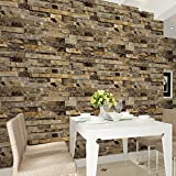 "HaokHome 91302 Modern Faux Brick Stone Textured Wallpaper Roll Yellow Multi 3D Brick Blocks Home Room Decoration 20.8"" x 393.7"""
