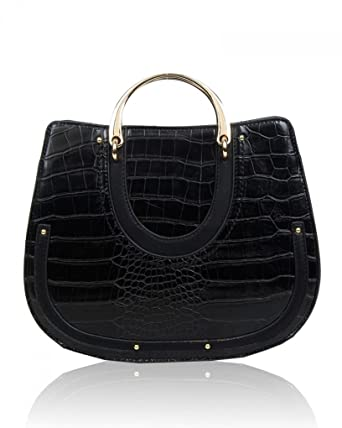 563c8303d1 LeahWard® Ladies Women s Fashion Designer Patent Croc Print Faux Leather Tote  Bag Quality Trendy Shinny