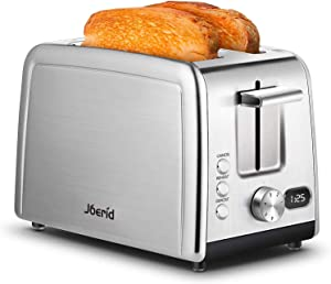Joerid Toasters,2-Slice Toaster with Warming Rack, Striped Stainless Steel Toaster for Bread Waffles, Extra-Wide Slot with Defrost/Reheat/Cancel Function, 7 Shade Settings