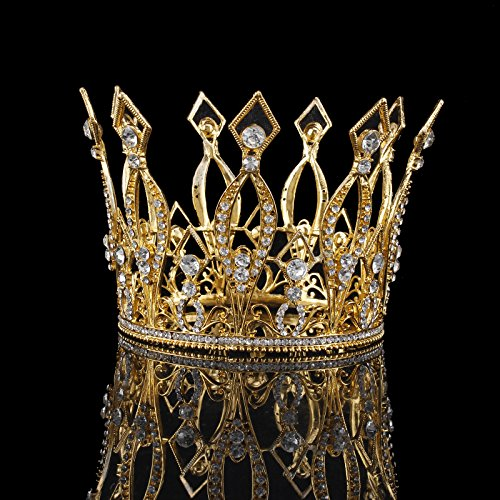 FUMUD Imperial Medieval 3.9inch Crowns Full Rould Gold/Silver Tiaras For Women Clear Crystal Pageant Party Costumes Diadem Hair Jewelry (New -