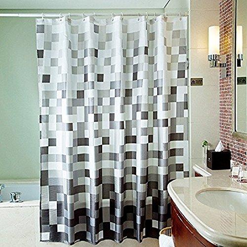 Seavish Bathroom Shower Curtain, Grey Mosaic Fabric Waterproof Bath Curtain Set with Hooks Mildew Resistant Machine Washable, 72x72 - Grey Mosaic