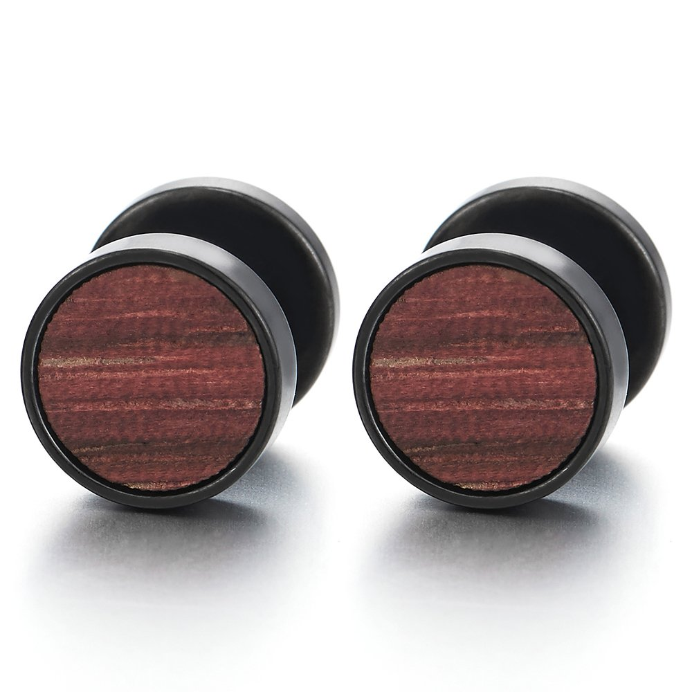 0bb2b24c9 Amazon.com: 10mm Mens Women Black Circle Stud Earrings with Wood, Steel  Cheater Fake Ear Plugs Gauges Tunnel 01: Jewelry