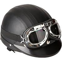 KKmoon Motorfiets Open Face half lederen helm met vizier UV beschermbril Retro Vintage Style 54-60cm