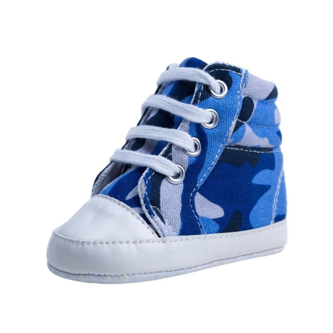 FNKDOR Babystiefel Camouflage Schuhe Weiche Sohle 0-1 Jahre Neugeborene Canvas Lauflernschuhe