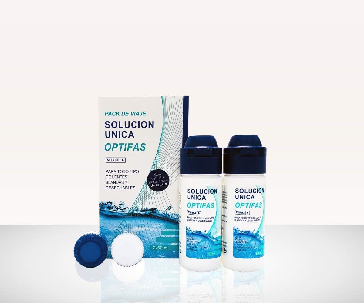 OPTIFAS Solución Única para Lentes de Contacto. Flight Pack Viaje 2x 60ml con Estuche Portalentes: Amazon.es: Salud y cuidado personal