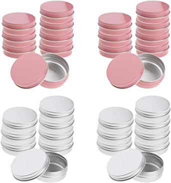 D DOLITY Pack of 32 Round Aluminum Tin Cans Screw Top, Round Containers Bulk Storage Organization for Lip Balm,Crafts,Cosmetic,Candles