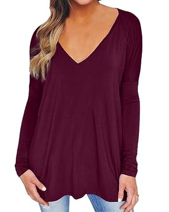 78aad03e7825e3 ZANZEA Women's Blouse Tunic Shirt Tops V Neck Long Sleeve Flared Loose Tee  Wine Red US