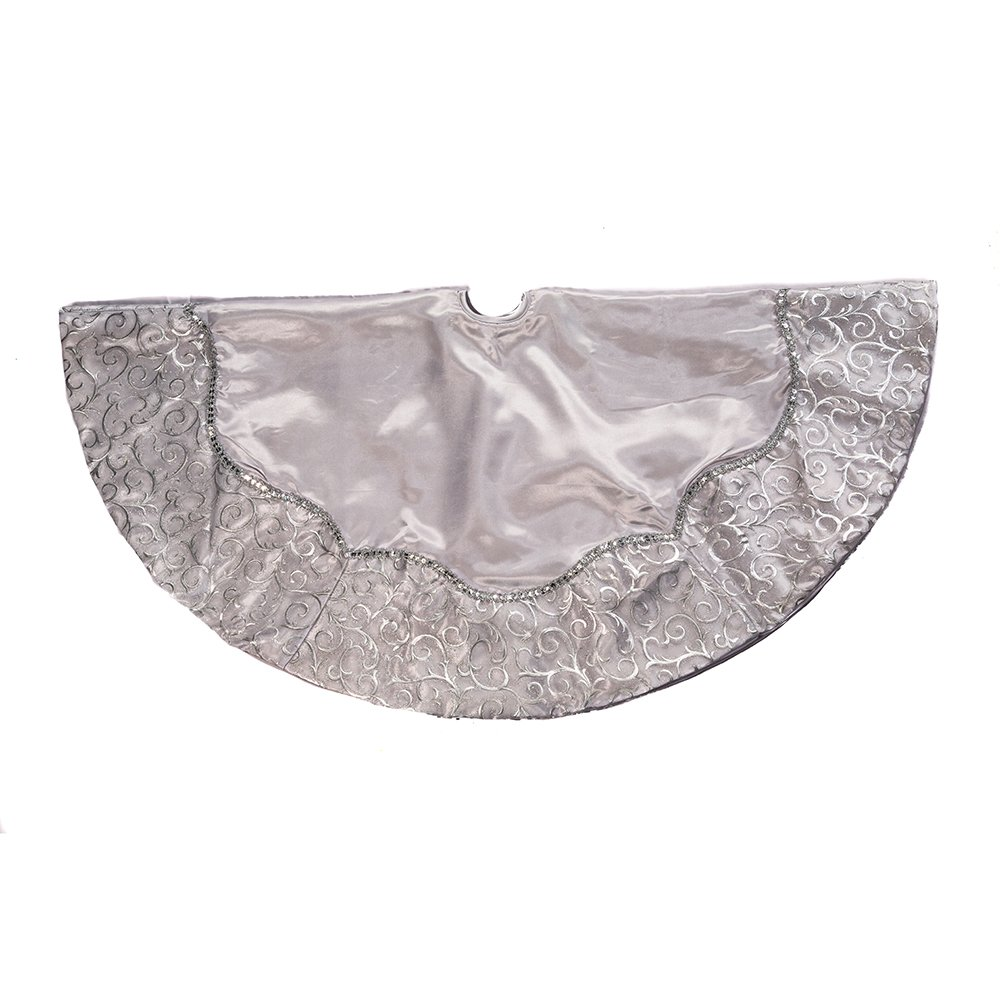 Kurt Adler 48-Inch Silver Satin with Printed Border Treeskirt Kurt S. Adler Inc. YAMH5248