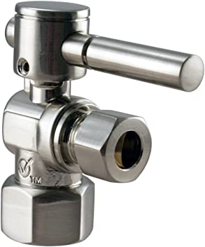 OD x 3//8 in Polished Chrome 5//8 in OD-1//4-Turn Lever Handle Westbrass R105BL-26 Angle Stop
