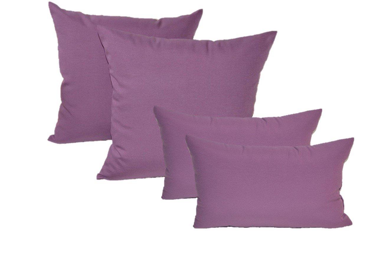 Set of 4 Indoor / Outdoor Pillows - 17'' Square Throw Pillows & 11'' x 19'' Rectangle / Lumbar Decorative Throw Pillows - Solid Lavender / Lilac Purple