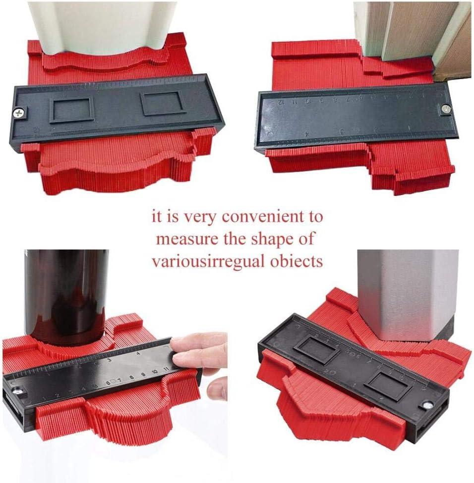 AOBAMA Contour gauge 12/14/25 / 50cm Contour Gauge Plastic Copy Contour Gauges Standard Wood Marking Tool Tile Laminate Tile-50cm red 14cm Red