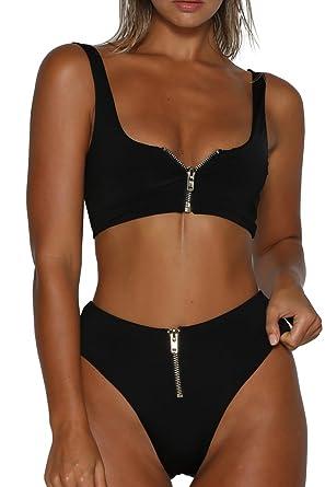 7983961bf57edf VNOOK Women s Zipper Front High Waisted High Cut Two Piece Bikini Sets Black  S