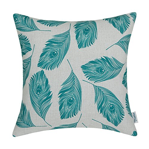 CaliTime Cushion Cover Throw Pillow Case Shell Peacock Feathers 18 X 18 Inches Teal