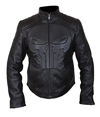 F&H Mens Genuine Leather Punisher Skull Biker Jacket at ...