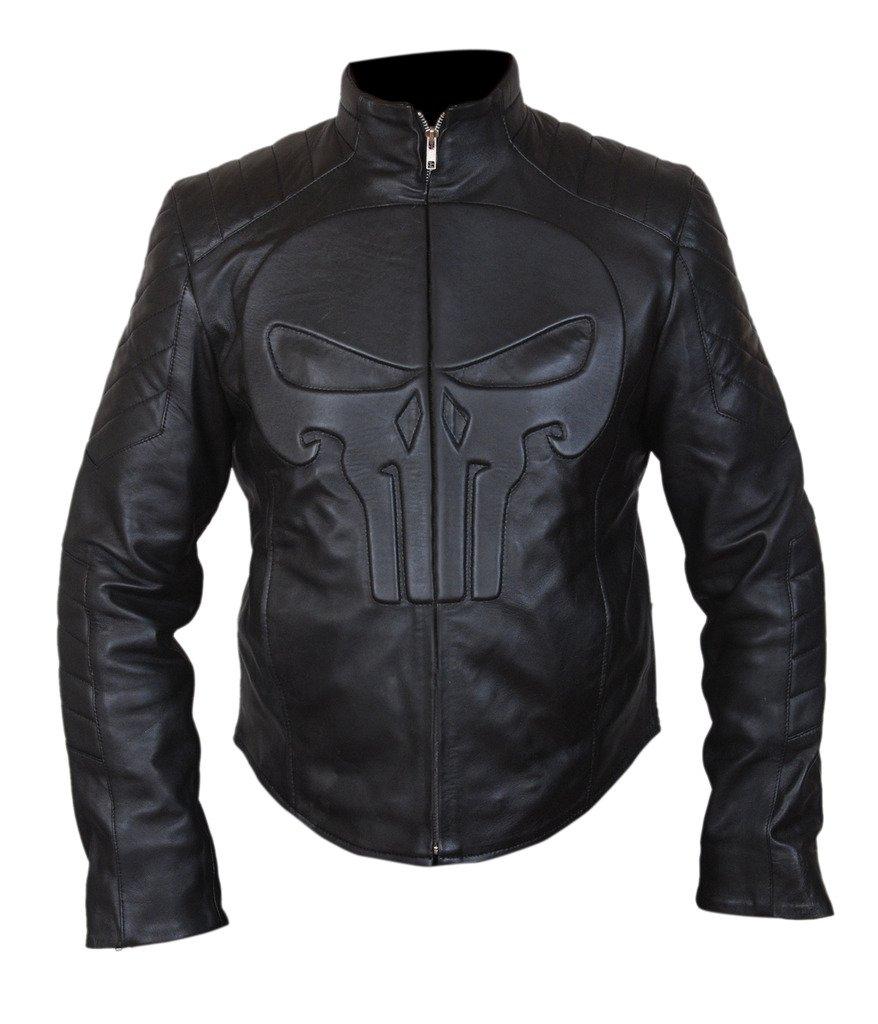 F&H Men's Punisher Skull Biker Jacket XL Black by Flesh & Hide