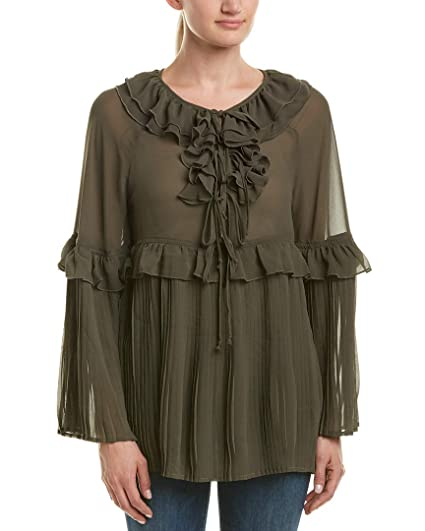 83a7ab8547 Romeo   Juliet Couture Womens Pleated Woven Top at Amazon Women s Clothing  store