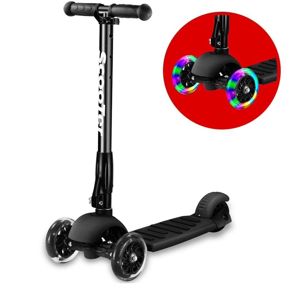 Greentest Scooter Foldable Adjustable Height Easy Turning 3 Wheel Scooter Kids Boys Girls Flashing PU Wheels (Black) (Black)