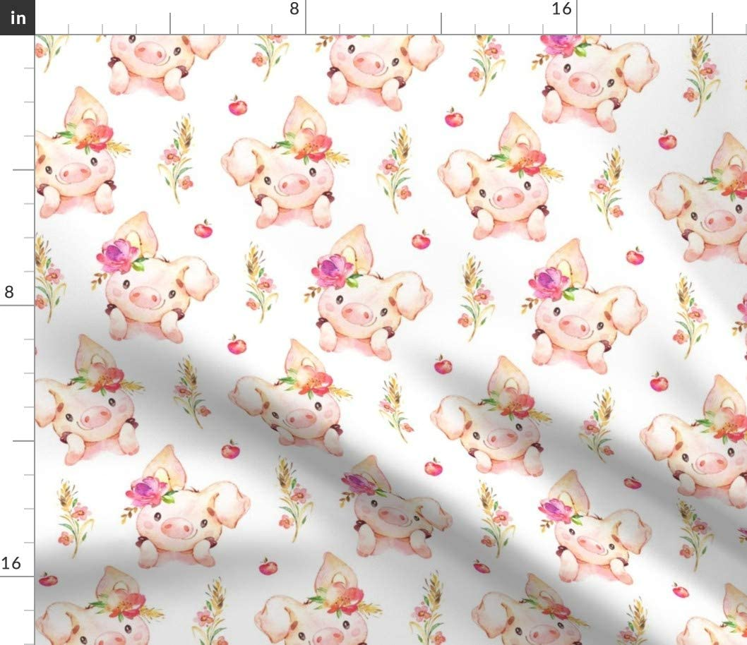 Spoonflower Fabric - Baby Girl Pig Flowers Apples Scale Piggy Cute Little Country Farm Printed on Cotton Spandex Jersey Fabric by The Yard - Fashion Apparel Clothing with 4-Way Stretch
