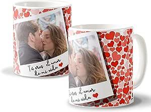 Getsingular Tazas Personalizadas con tu Foto Ideales para Enamorados y San Valentín | Diséñalas con una Foto romántica| Tazas Blancas Diseño Personalizado con Foto Tú Eres el Amor de mi Vida: Amazon.es: