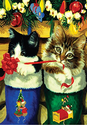 Toland Home Garden Stocking Kittens 28 x 40 Inch Decorative Christmas Holiday Cat Gift Ribbon House Flag - 101235]()