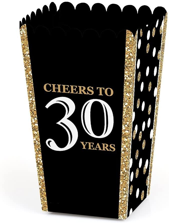 Adult 30th Birthday - Gold - Birthday Party Favor Popcorn Treat Boxes - Set of 12