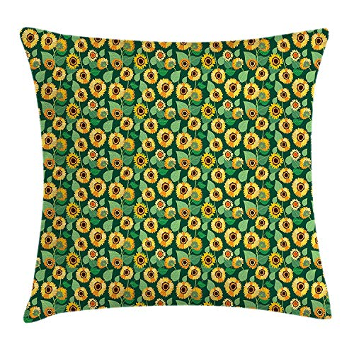 Queolszi Sunflower Throw Pillow Cushion Cover, Rural Field Pattern Inspired by Folk Art Country Life Farmhouse, Decorative Square Accent Pillow Case, 18 X 18 inches, Hunter Green Marigold Brown