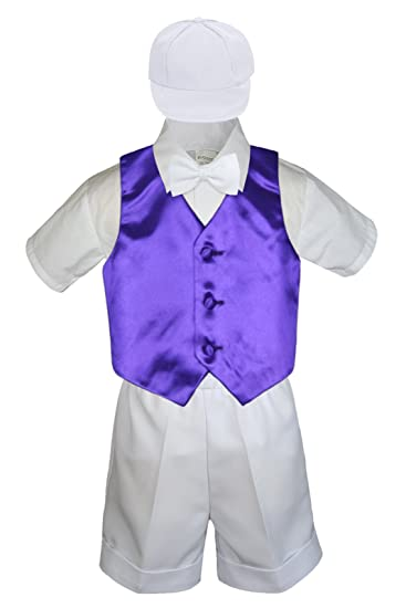 0 month-4 yr New Baby Boy Toddler Christening 5PC White Vest Shorts Suit S-4T