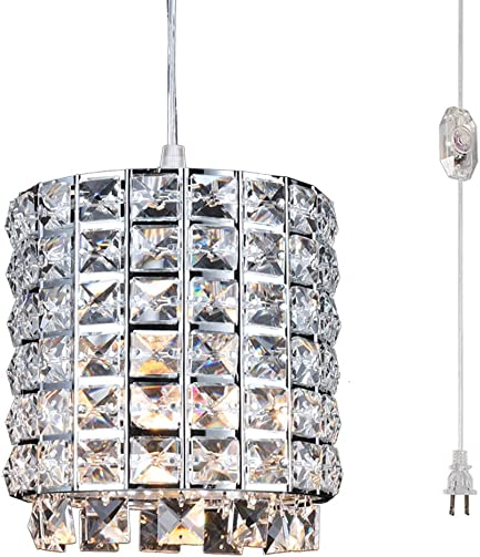 Modern Light Elegant Mini Pendant Light Plug in Crystal Chandelier Lamp with On Off Switch in Cord, Hanging Fixture Light for Kitchen Bedroom Dining Room Foyer Kids Room