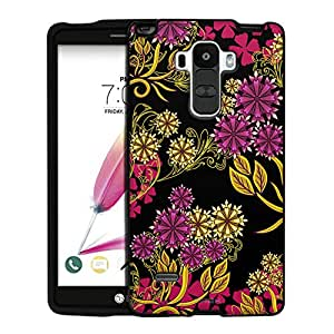 LG G Stylo Case, Snap On Cover by Trek Magenta Flowers and Yellow Vines on Black Case