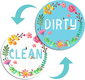 Dishwasher Magnet Clean Dirty Sign, Strongest Magnet waterproof Double Sided Flip Sign With Bonus Adhesive Metal Magnetic Plate for non magnetic Dishwasher, Ideal for All Dishwasher Premium Gift Idea