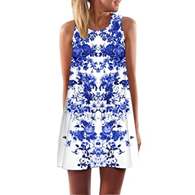 5b9f26dabef Lemoning 🍋Women Loose Summer Vintage Sleeveless 3D Floral Print Short Mini  Dress (S