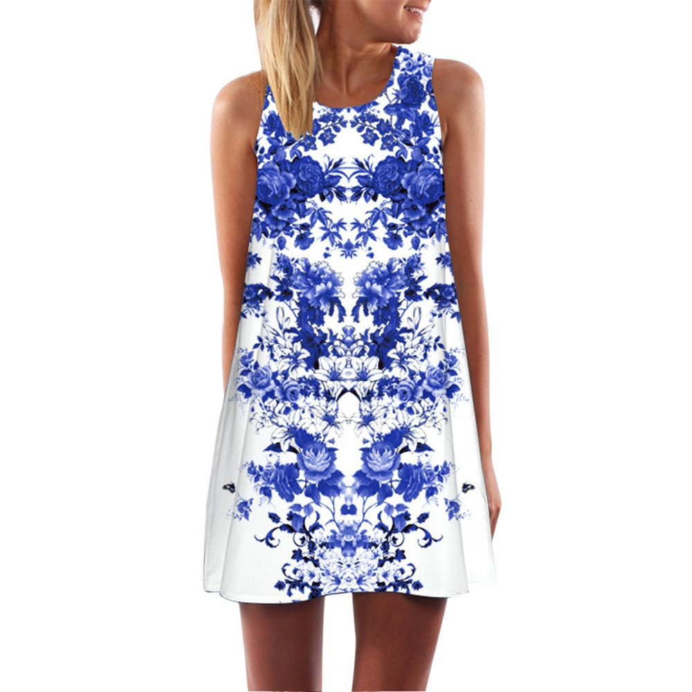 Bandage Dress Two Piece,Women Loose Summer Vintage Sleeveless 3D Floral Print Short Mini Dress XL,White,XL