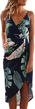 Women's Sexy Deep V Neck Sleeveless Spaghetti Strap Floral Print Split Summer Beach Casual Maxi Dress for Girls Green Small