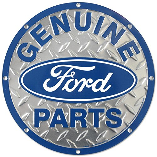 Ford Genuine Parts Diamond Plate Die-Cut Round Tin - Round Trucks Sign Ford Tin