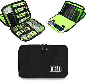Electronics Accessories Organizer Bag,Portable Tech Gear Phone Accessories Storage Carrying Travel Case Bag, Headphone Earphone Cable Organizer Bag (L-Black)