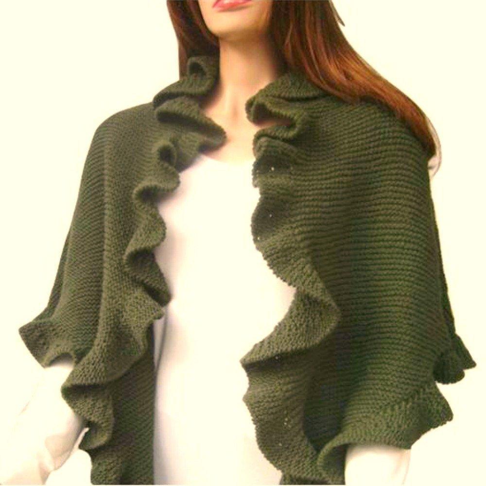 Green Wool Hand Knit Three Sides Ruffle Shawl Scarf by Jasmine Creations