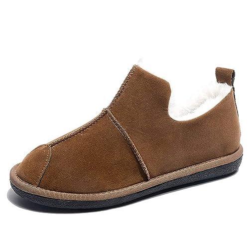 Mocasines De Mujer Zapatos Planos De Invierno De Costura De Piel SintéTica De ImitacióN De Piel Corta Corta De Peluche En CóModas Botas: Amazon.es: Zapatos ...