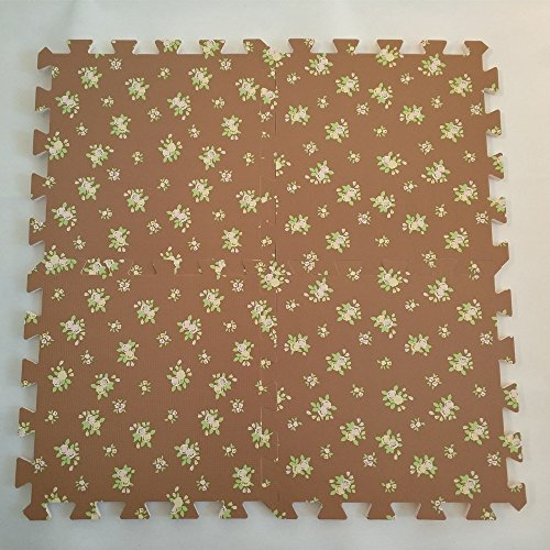 EVA Solid foam puzzle mat with dark flower pattern used for exercise/yoga size:12″X12″ 3/8″Thick 9PCS/bag