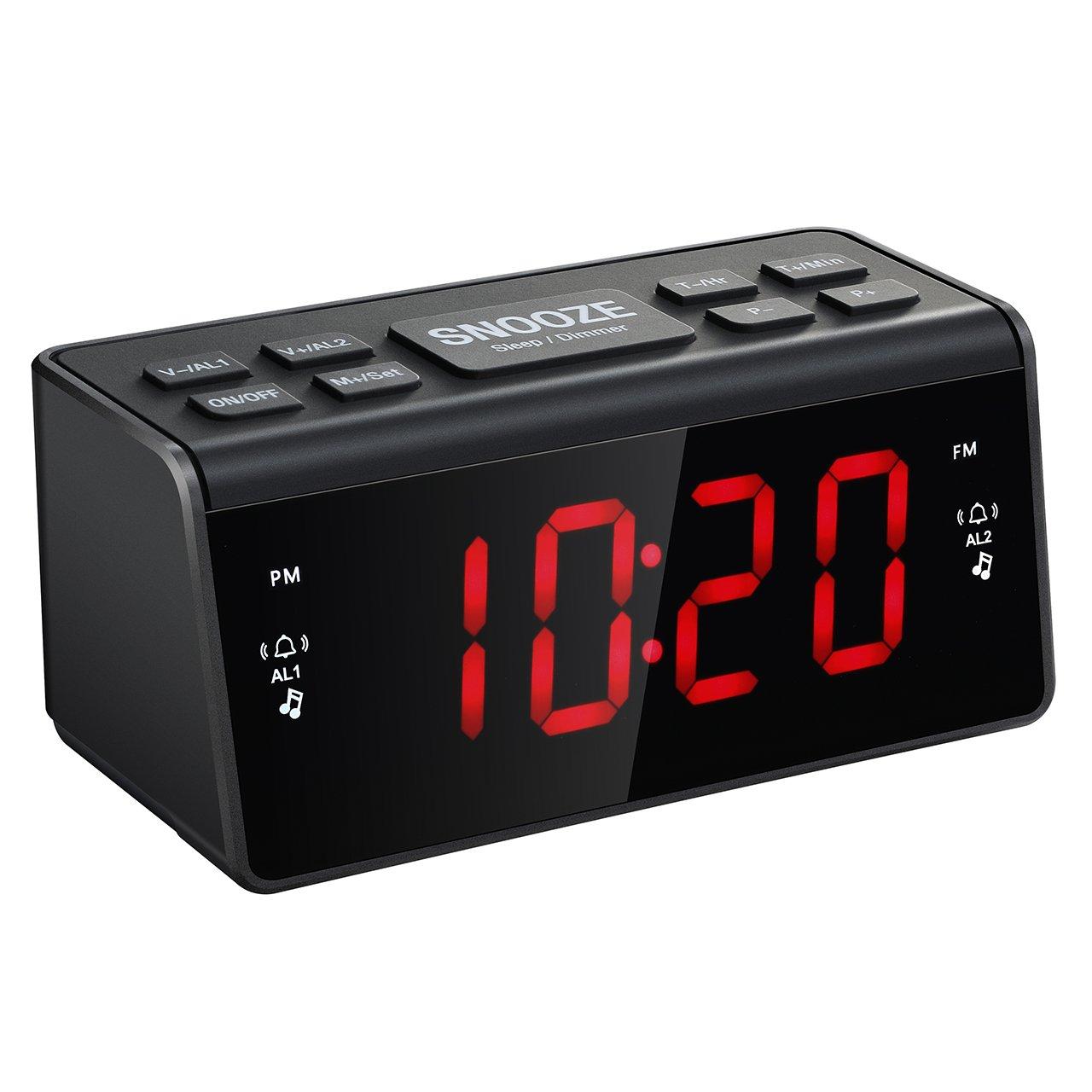 Mpow FM Radio Alarm Clock, FM/AM Digital Radio Clock Bedside Alarm Clocks  with Dual Alarms, Snooze Function, Sleep Timer, 1.5-inch Large Red LED  Display, ...