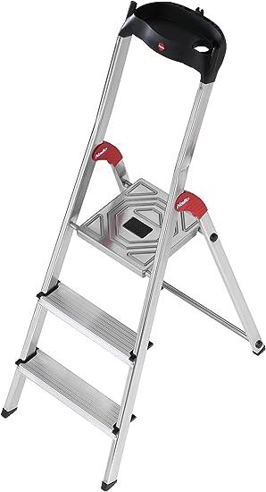 Hailo 5_8503-001 Seguridad del hogar escalera Alu L60 3 pasos, gris: Amazon.es: Bricolaje y herramientas