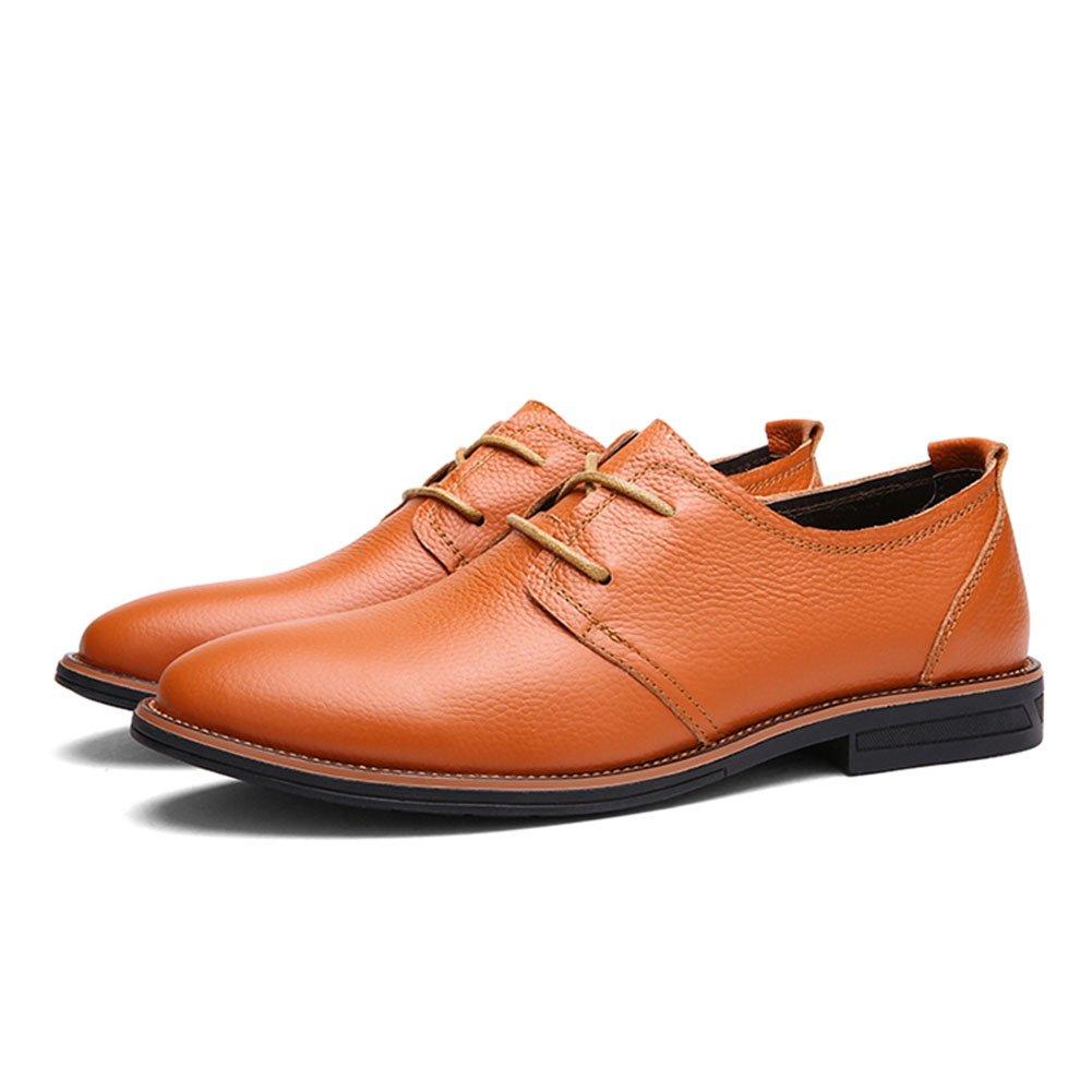 Herren Formelle Schuhe 2018 Herbst/Winter Herren Geschäft Casual Schuhe/Büro Freizeitschuhe England LUN Leder Lace-up Spitzen Single Schuh (Farbe : Orange, Größe : 43)