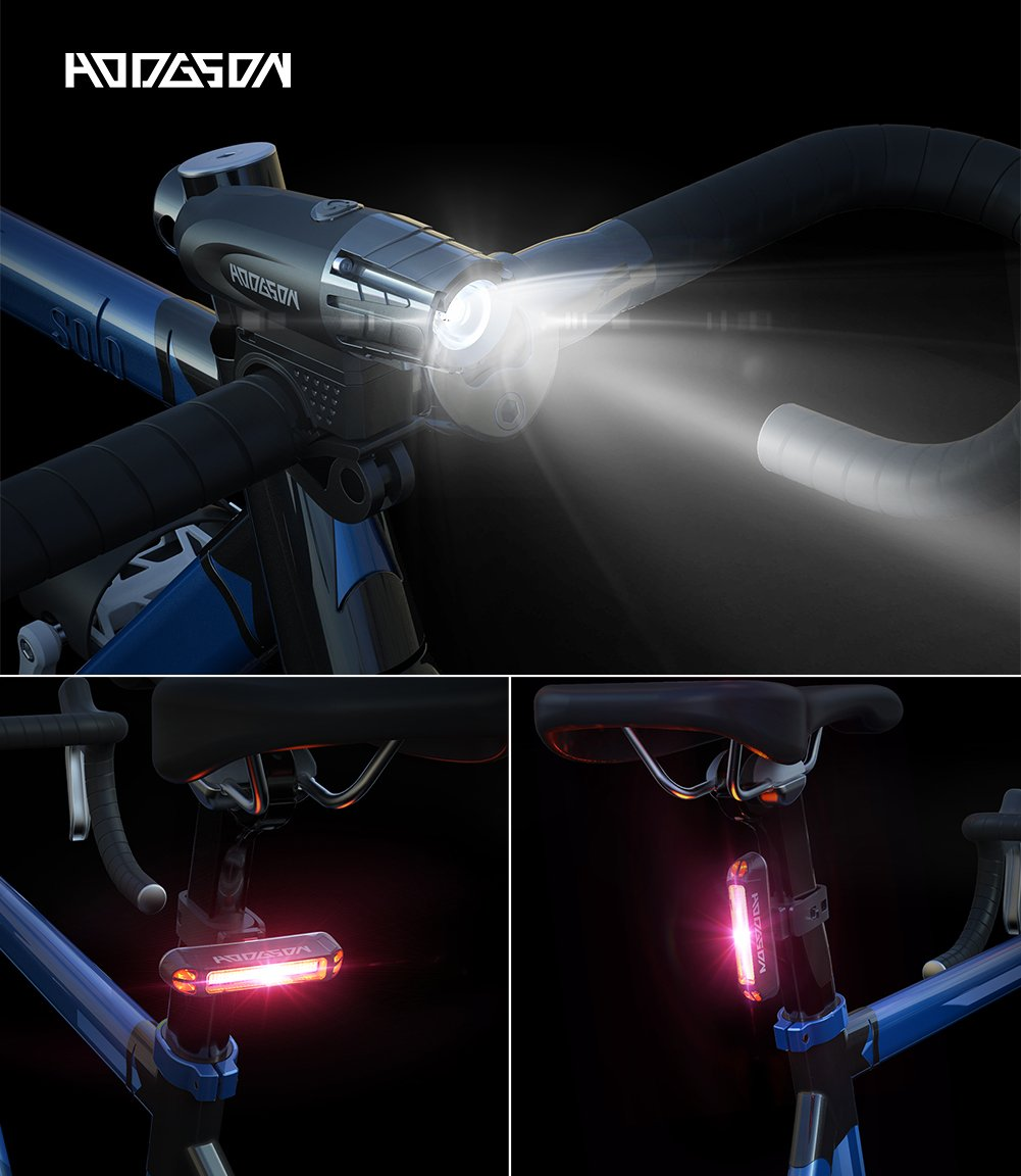 HODGSON Bike Lights 400 Lumens Bicycle Light Front and Back, USB Rechargeable Super Bright Headlight and Flashing Rear Light, IPX4 Waterproof, Easy to Install with All accessories by HODGSON (Image #3)
